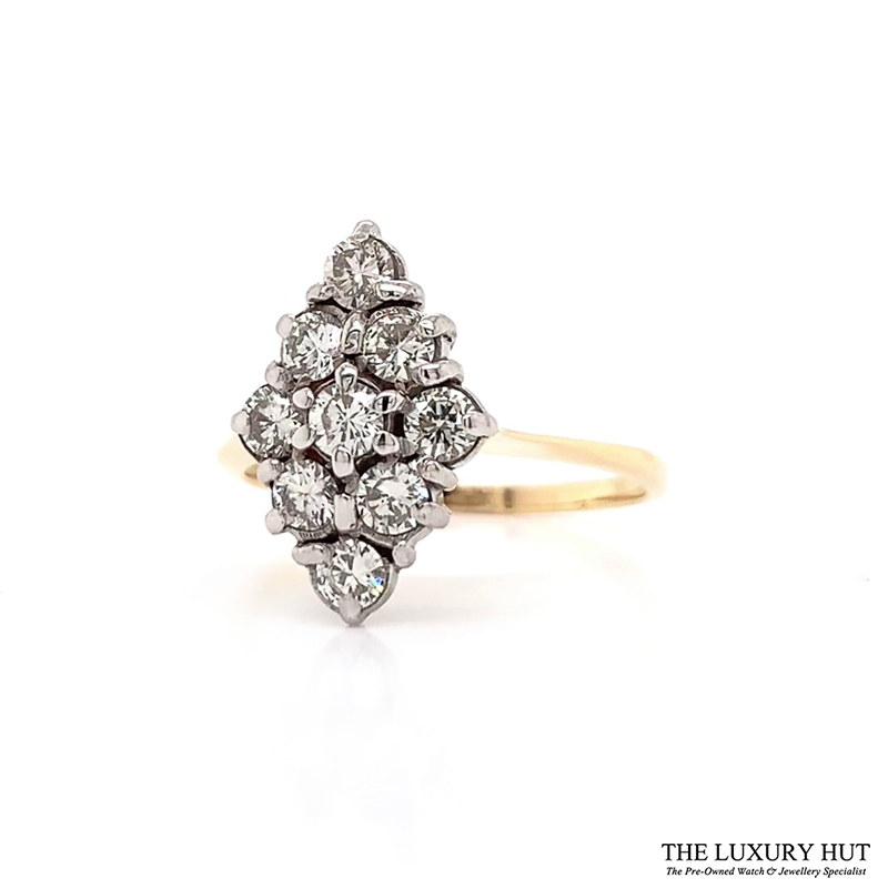 18ct Yellow Gold & Platinum Vintage 1.00ct Diamond Ring - Order Online Today For Next Day