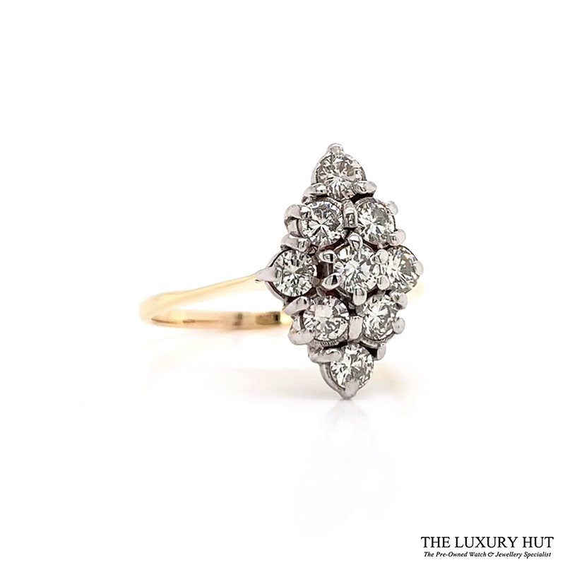 18ct Yellow Gold & Platinum Vintage 1.00ct Diamond Ring - Order Online Today For Delivery