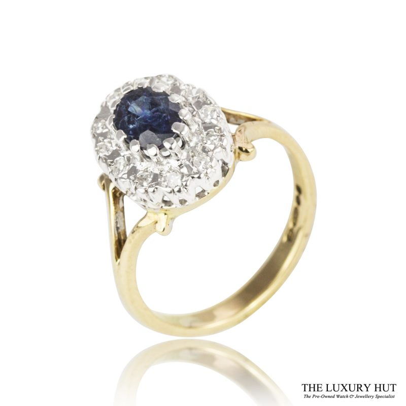 Platinum & 9ct Yellow Gold Sapphire & Diamond Ring - Order Online Today For Next Day