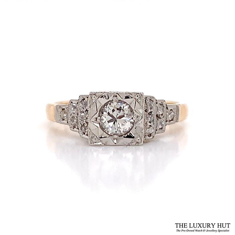 18ct Yellow Gold & Platinum 0.75ct Diamond Engagement Ring - Order Online Today For Next Day Delivery