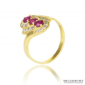 Shop 21.6ct Vintage Yellow Gold Ruby & Diamond Cluster Ring - Order Online Today For Next Day