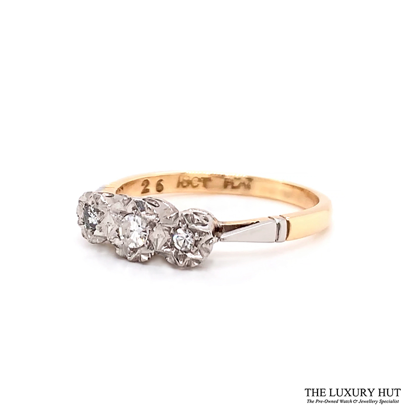 Shop 18ct Yellow Gold & Platinum Diamond Trilogy Ring - Order Online Today For Next Day