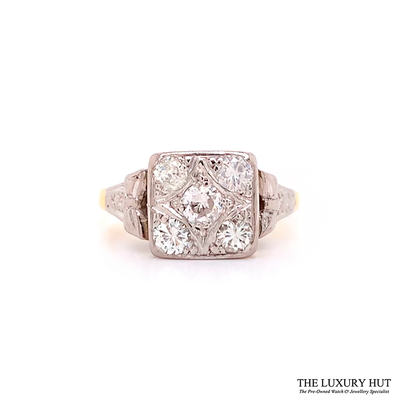 Shop 18ct Yellow Gold & Platinum 1950s Diamond Engagement Ring - Order Online Today For Next Day Delivery