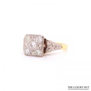 Shop 18ct Yellow Gold & Platinum 1950s Diamond Engagement Ring - Order Online Today For Next Day
