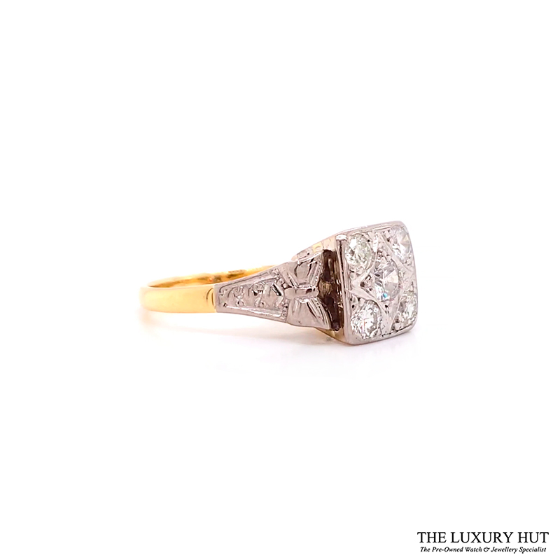 Shop 18ct Yellow Gold & Platinum 1950s Diamond Engagement Ring - Order Online Today Delivery