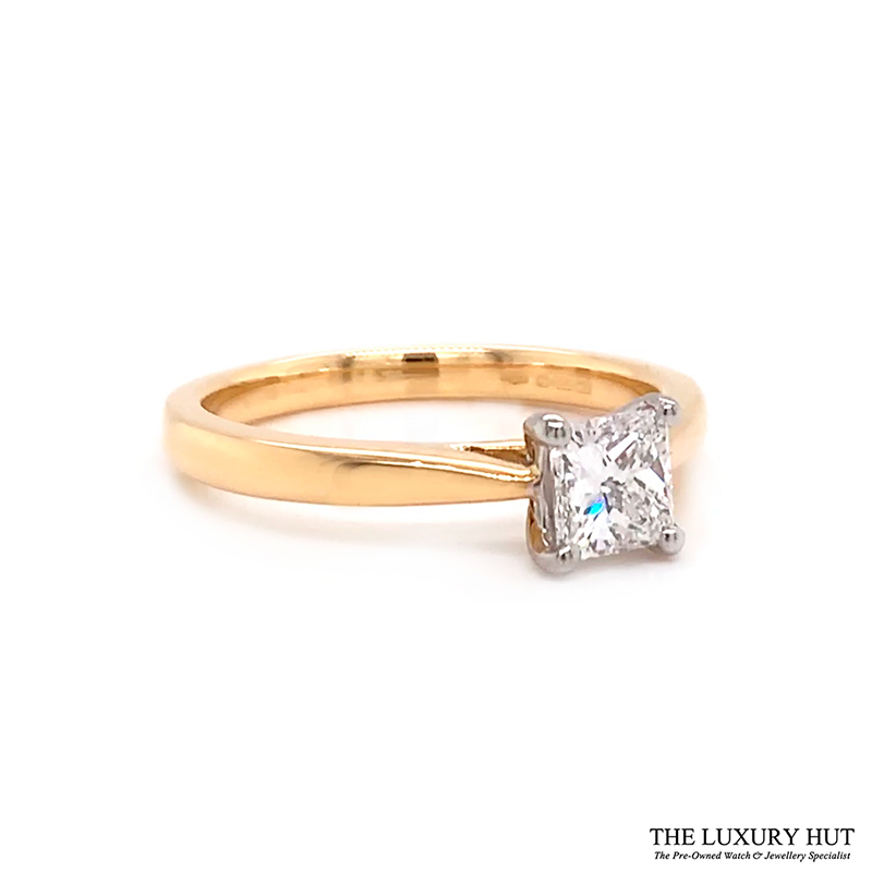 18ct Gold Certified 0.56ct Princess Cut Solitaire Engagement Ring Order Online