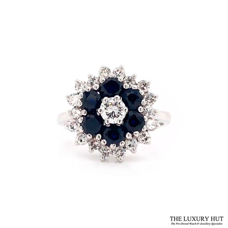 18ct White Gold Diamond & Sapphire Engagement Ring Order Online Today For Next Day Delivery - Sell Your Sapphire & Diamond Ring To The Luxury Hut London