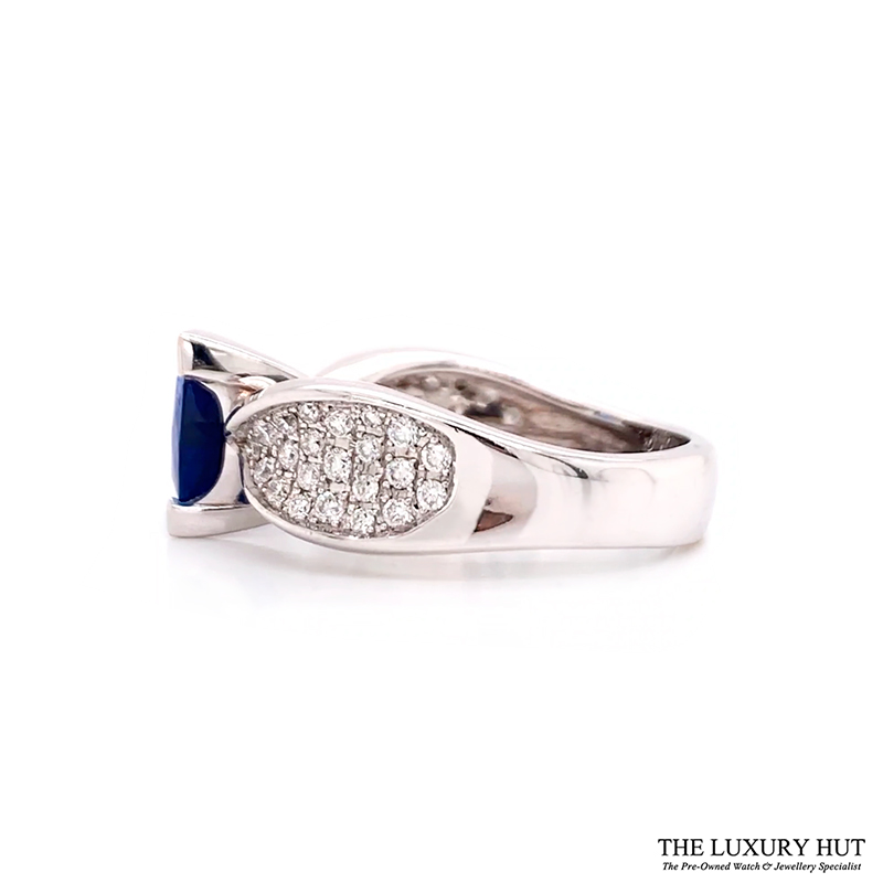 18ct White Gold Sapphire & Diamond Engagement Ring - Order Online Today For Next Day Delivery - Sell