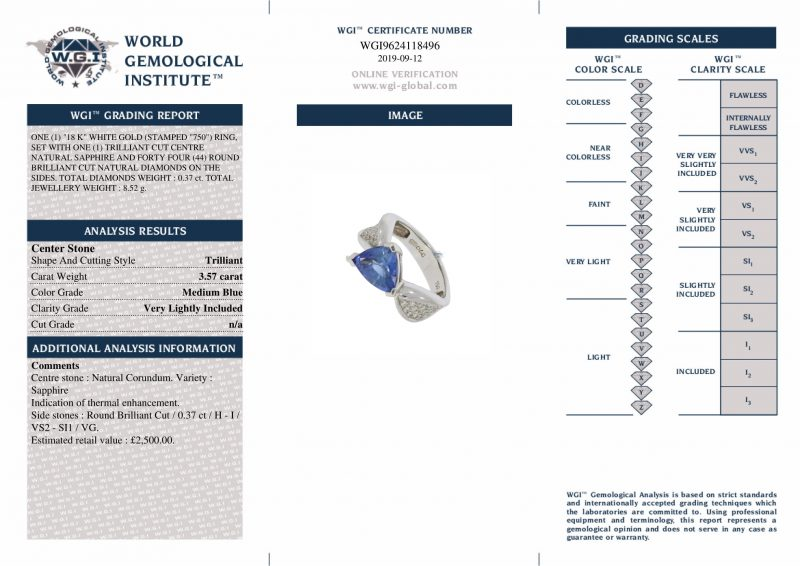 18ct White Gold Sapphire & Diamond Engagement Ring - Order Online Today For Next Day Delivery