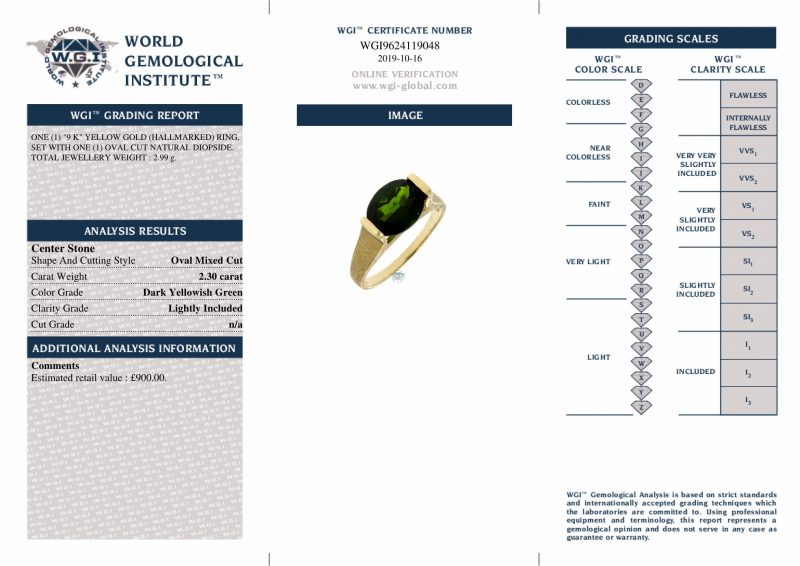 9ct Yellow Gold Diopside Solitaire Dress Ring Ref 24103 Order Online Today For Next Day Delivery - Sell Your Gold Ring