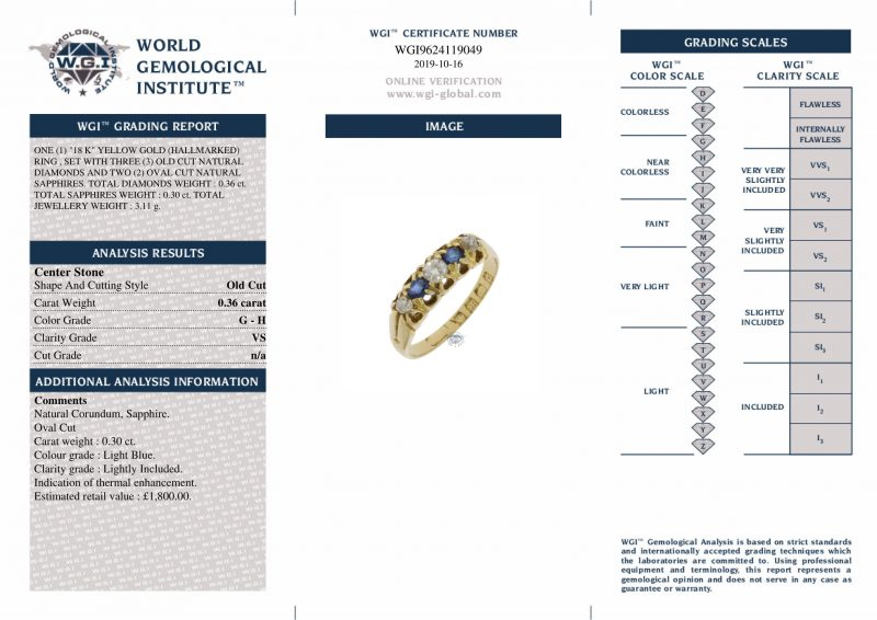 18ct Yellow Gold Vintage Diamond & Sapphire Ring - Order Online Today For Next Day Delivery