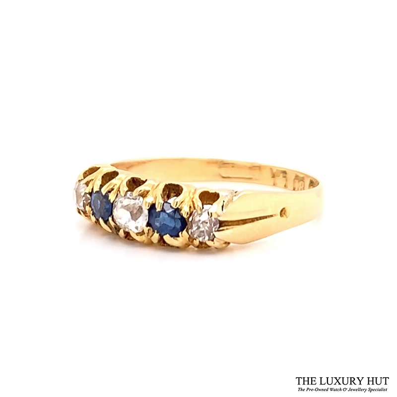18ct Yellow Gold Vintage Diamond & Sapphire Ring - Order Online Today For Next Day Delivery - Sell Your Diamond & Sapphire Ring To The Luxury Hut