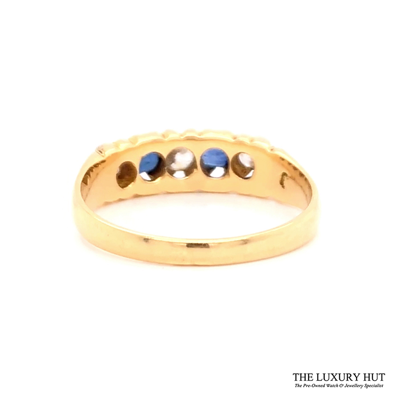 18ct Yellow Gold Vintage Diamond & Sapphire Ring - Order Online Today