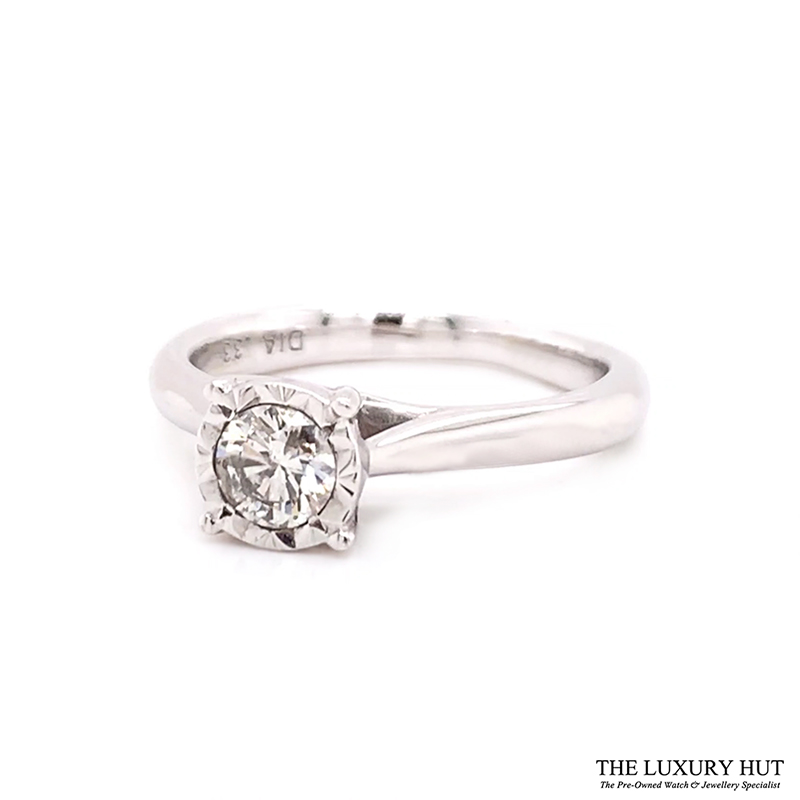 9ct White Gold 0.33ct Brilliant Cut Solitaire Engagement Ring Order Online Today For Next Day Delivery - Sell Your Diamond Ring To The Luxury Hut
