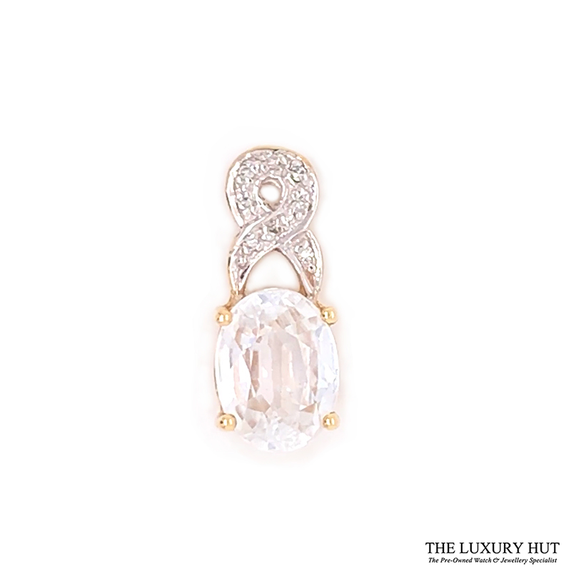 9ct Yellow Gold White Sapphire And Diamond Certified Pendant Order Online Today For Next Day Delivery - Sell Your Diamond Ring To The Luxury Hut London
