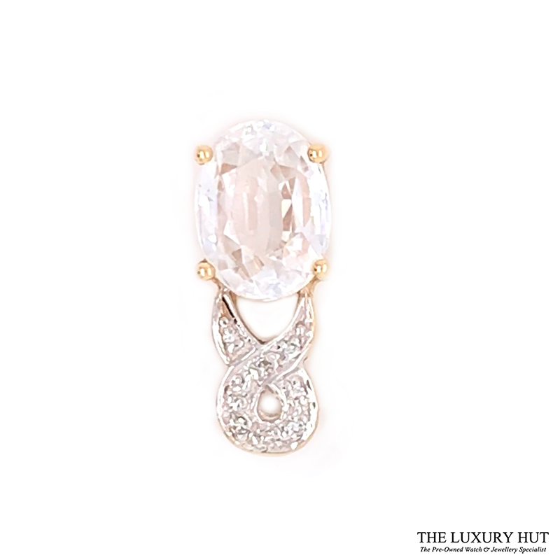 9ct Yellow Gold White Sapphire And Diamond Certified Pendant Order Online Today