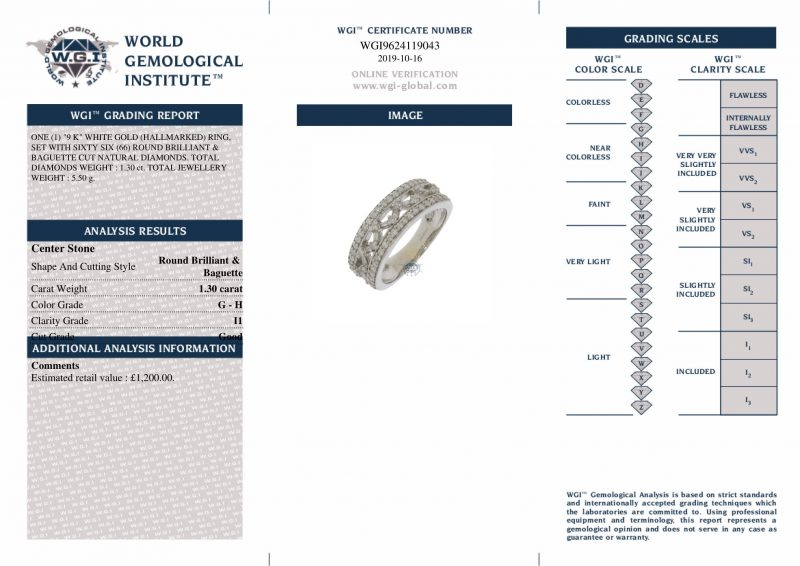 9ct White Gold Certified 1.30ct Diamond Band Ring Ref 24189 Order Online Today For Next Day Delivery