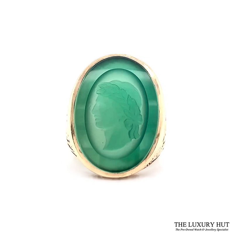 9ct Yellow Gold Carved Head Green Stone Signet Ring Ref 24394 Order Online Today For Next Day Delivery - Sell Your Signet Ring To The Luxury Hut London
