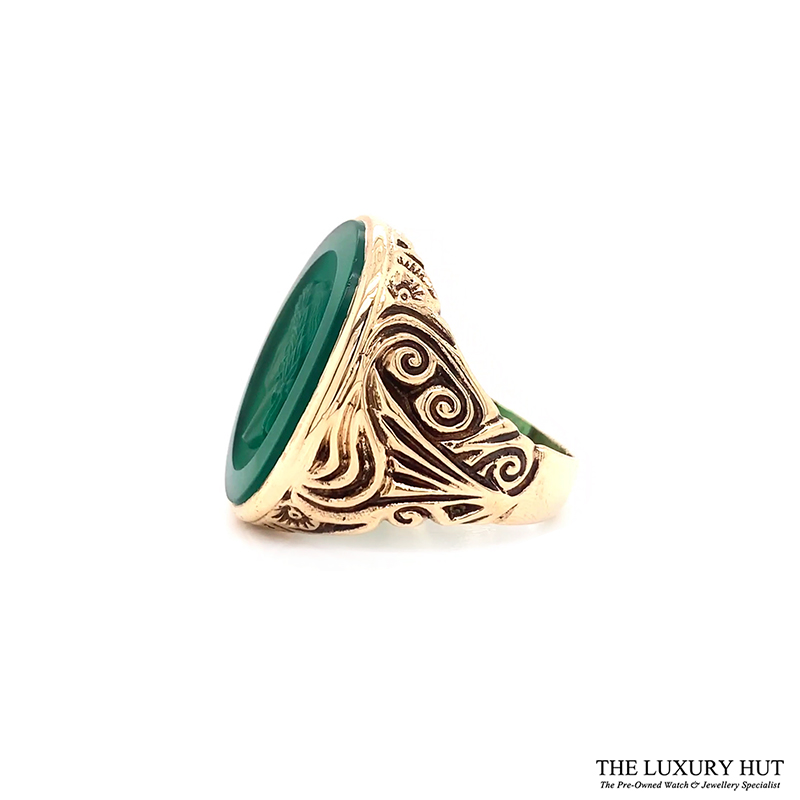 9ct Yellow Gold Carved Head Green Stone Signet Ring Ref 24394 Order Online Today For Next Day Delivery - Sell