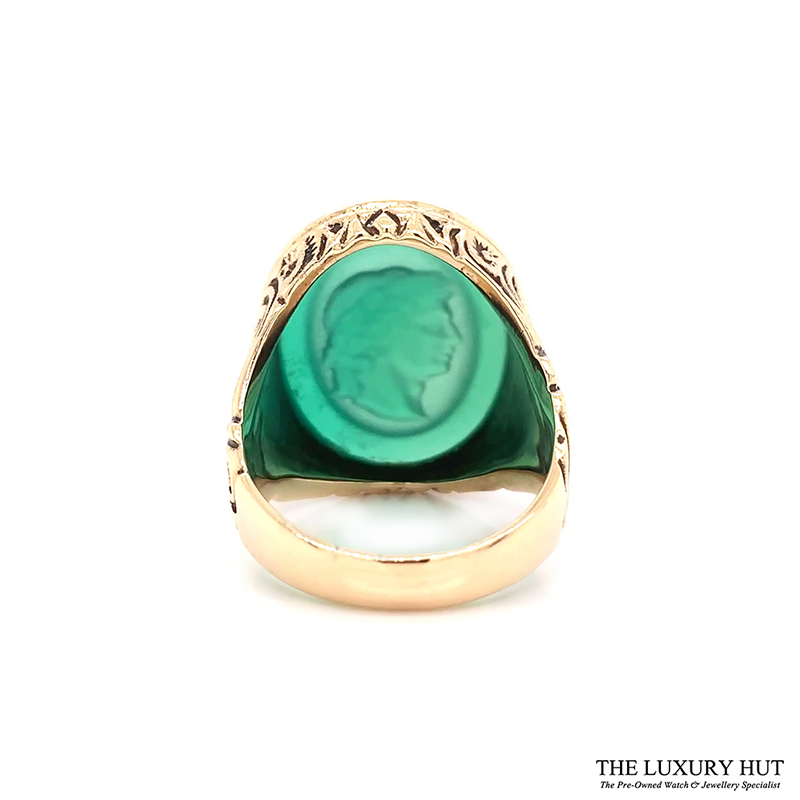 9ct Yellow Gold Carved Head Green Stone Signet Ring Ref 24394 Order Online Today For Next Day Delivery