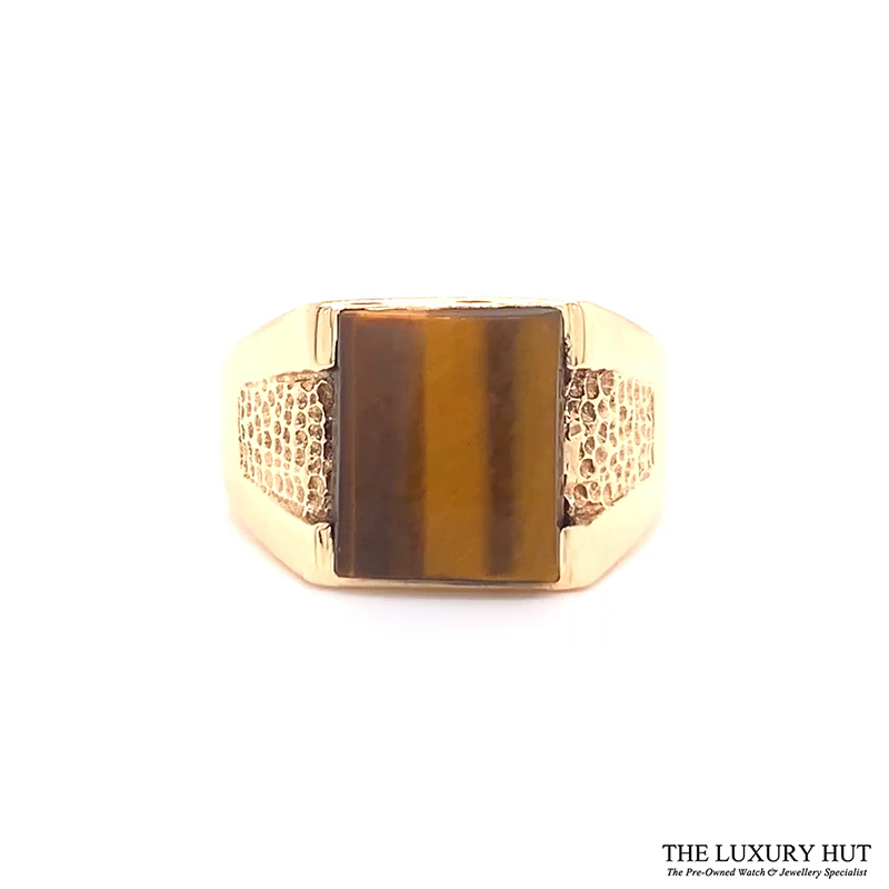 9ct Yellow Gold Tigers Eye Stone Signet Ring Ref 24417 Order Online Today For Next Day Delivery - Sell Your Signet Ring To The Luxury Hut London