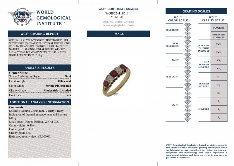 18ct Yellow Gold Vintage Certified Diamond & Ruby Ring Order Online Today For Next Day Delivery