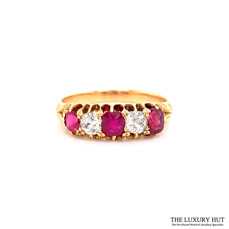 18ct Yellow Gold Vintage Certified Diamond & Ruby Ring Order Online Today For Next Day Delivery - Sell Your Diamond & Ruby Ring To The Luxury Hut London