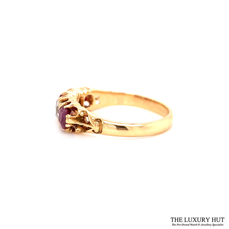 18ct Yellow Gold Vintage Certified Diamond & Ruby Ring Order Online Today For Next Day Delivery - Sell