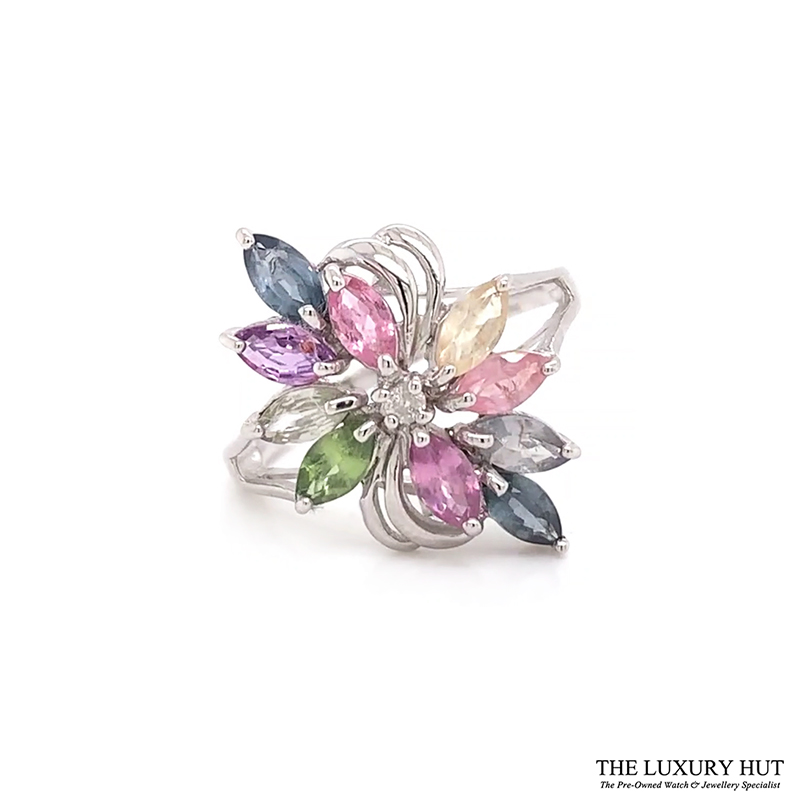 9ct White Gold Diamond & Multi Coloured Stone Ring Ref 24608 Order Online Today For Next Day Delivery