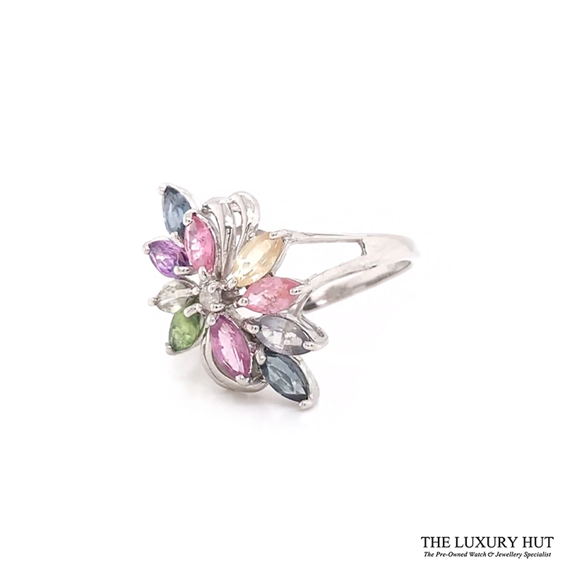 9ct White Gold Diamond & Multi Coloured Stone Ring Ref 24608 Order Online Today