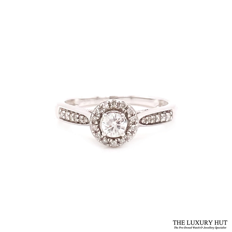9ct White Gold 0.25ct Diamond Halo Solitaire Engagement Ring Order Online Today For Next Day Delivery