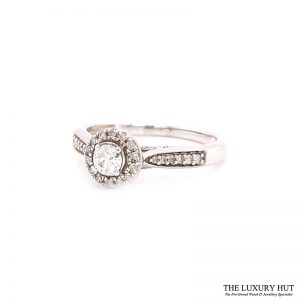 9ct White Gold 0.25ct Diamond Halo Solitaire Engagement Ring Order Online Today