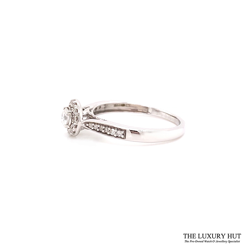 9ct White Gold 0.25ct Diamond Halo Solitaire Engagement Ring