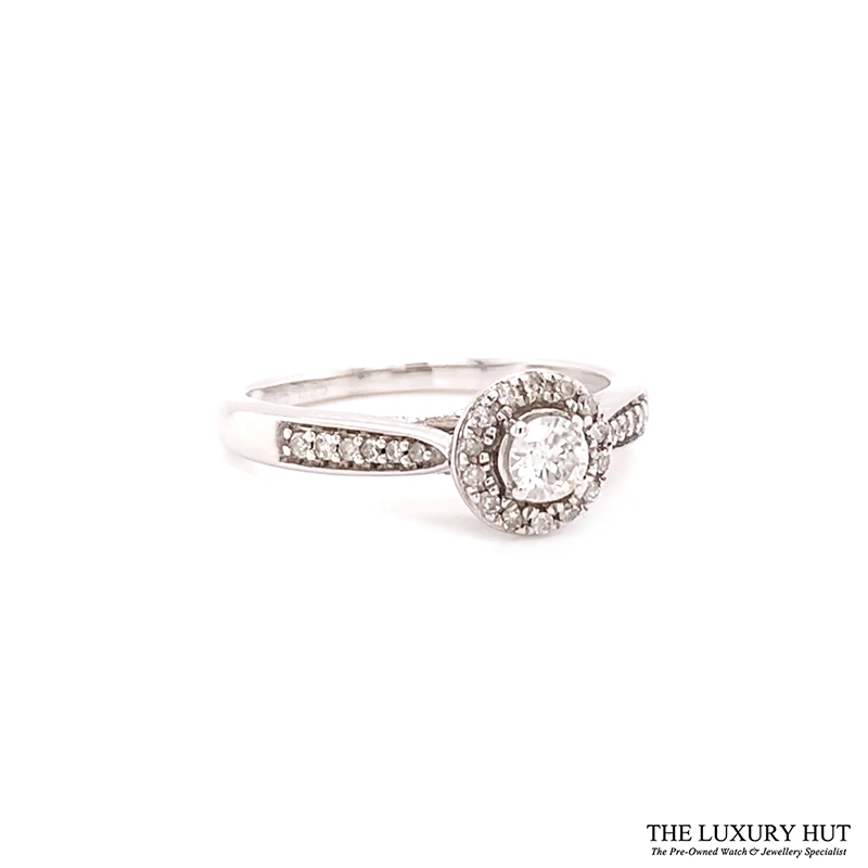 9ct White Gold 0.25ct Diamond Halo Engagement Ring Order Online