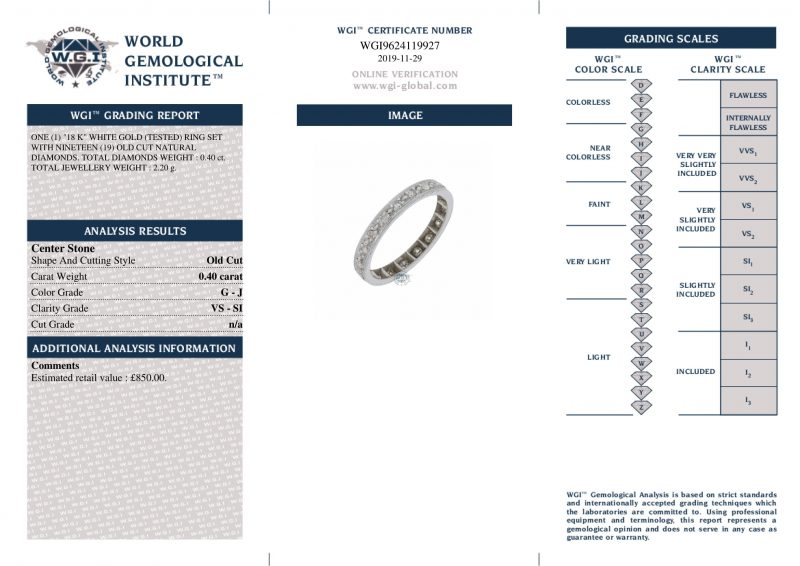 18ct Gold Certified 0.40ct Diamond Full Eternity Ring