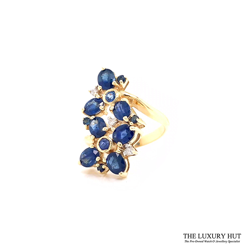 9ct Yellow Gold Sapphire & Diamond Cluster Engagement Ring