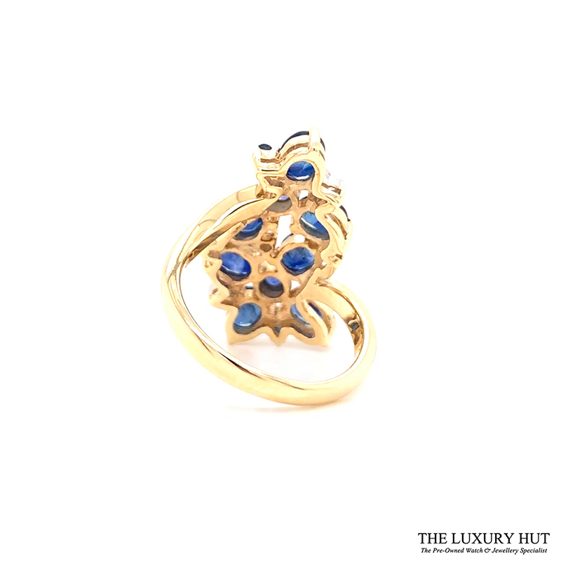 9ct Yellow Gold Sapphire & Diamond Cluster Engagement Ring Order Online Today For Next Day