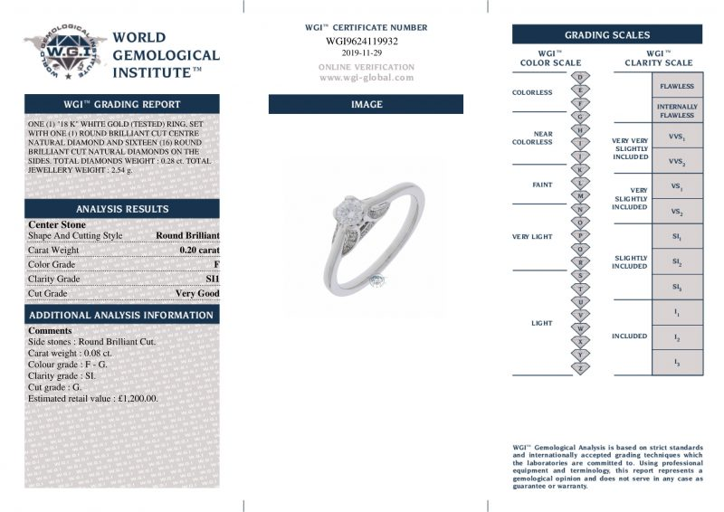 18ct White Gold 0.28ct Diamond Solitaire Engagement Ring Order