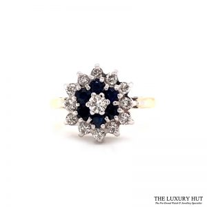 9ct Yellow Gold Sapphire And Diamond Cluster Ring Order Online Today For Next Day Delivery