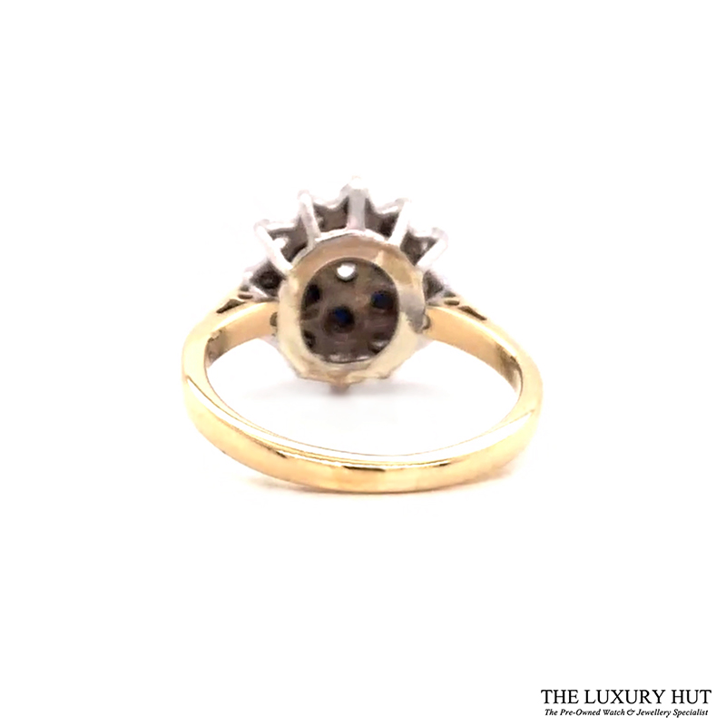 9ct Yellow Gold Sapphire And Diamond Cluster Engagement Ring Order Online Today