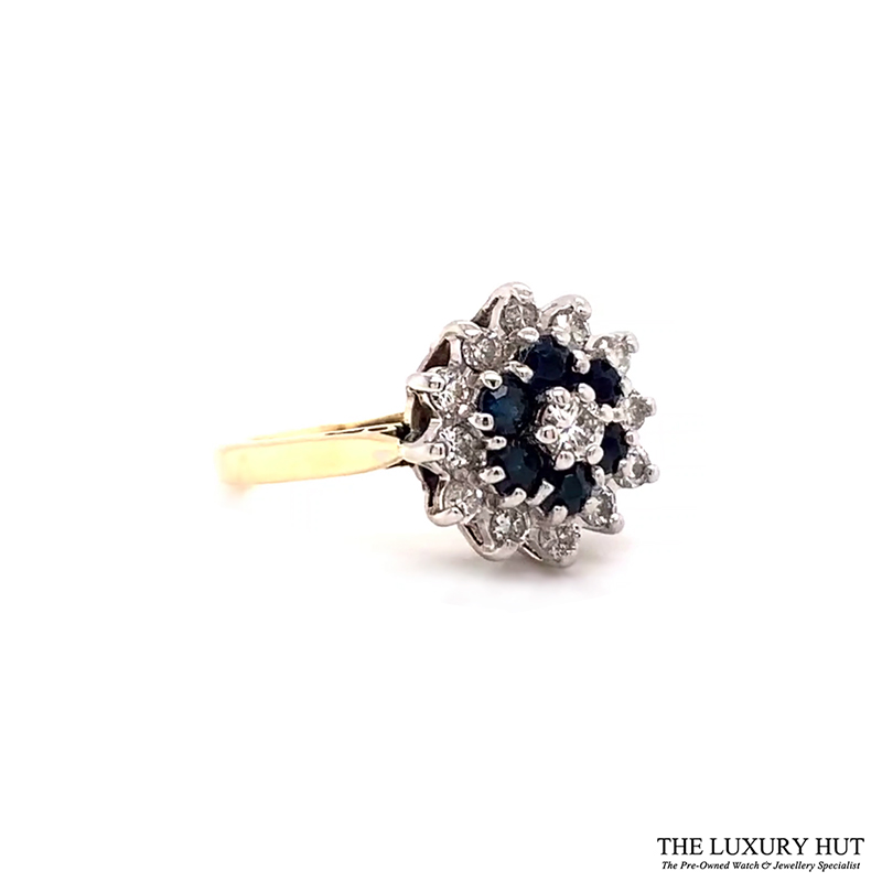 9ct Yellow Gold Sapphire And Diamond Cluster Engagement Ring Order Online Today For Next Day Delivery