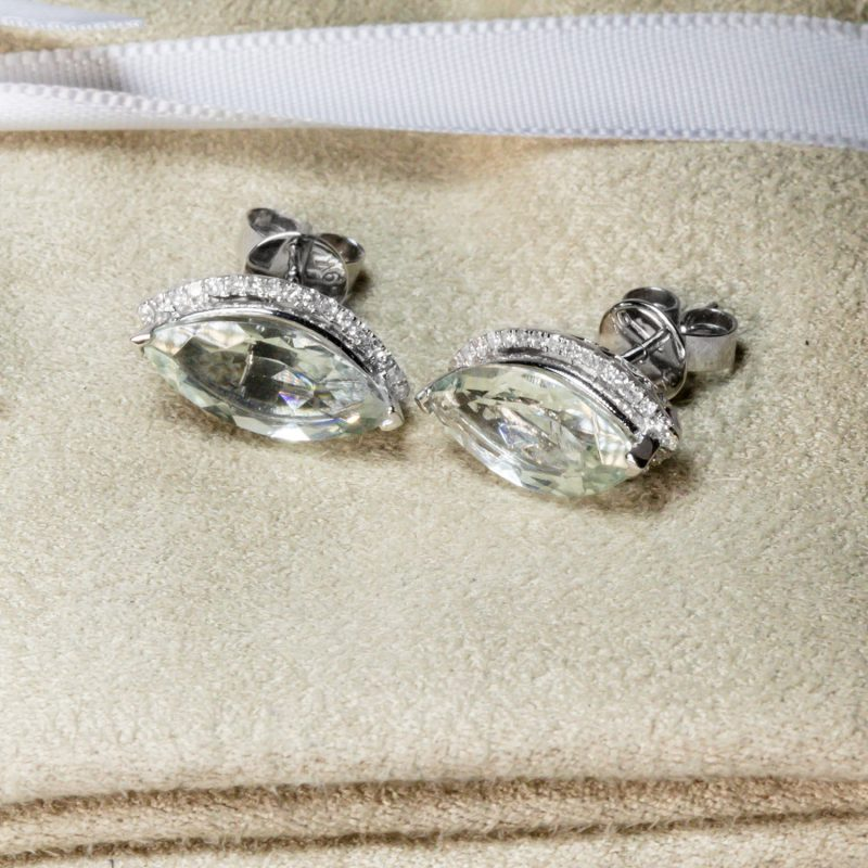 Shop 9CT Gold Green Amethyst & Diamond Earrings - Order Online Today for Next Day Delivery - Sell Your Diamond Jewellery to the Luxury Hut