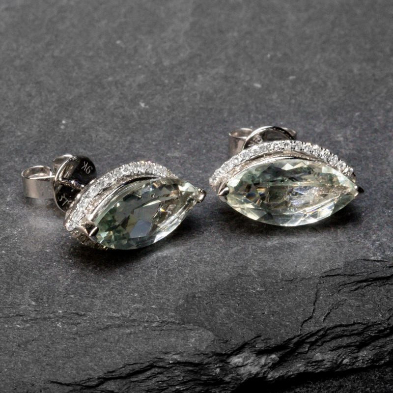Shop 9CT Gold Green Amethyst & Diamond Earrings - Order Online Today for Next Day Delivery