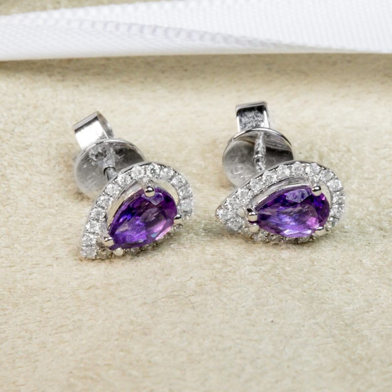 Shop 9CT White Gold Amethyst & Diamond Earrings - Order Online Today for Next Day Delivery - Sell Your Diamond Jewellery