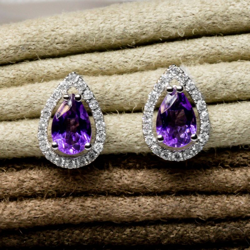 Shop 9CT White Gold Amethyst & Diamond Earrings - Order Online Today for Next Day Delivery - Sell Your Diamond Jewellery to the Luxury Hut