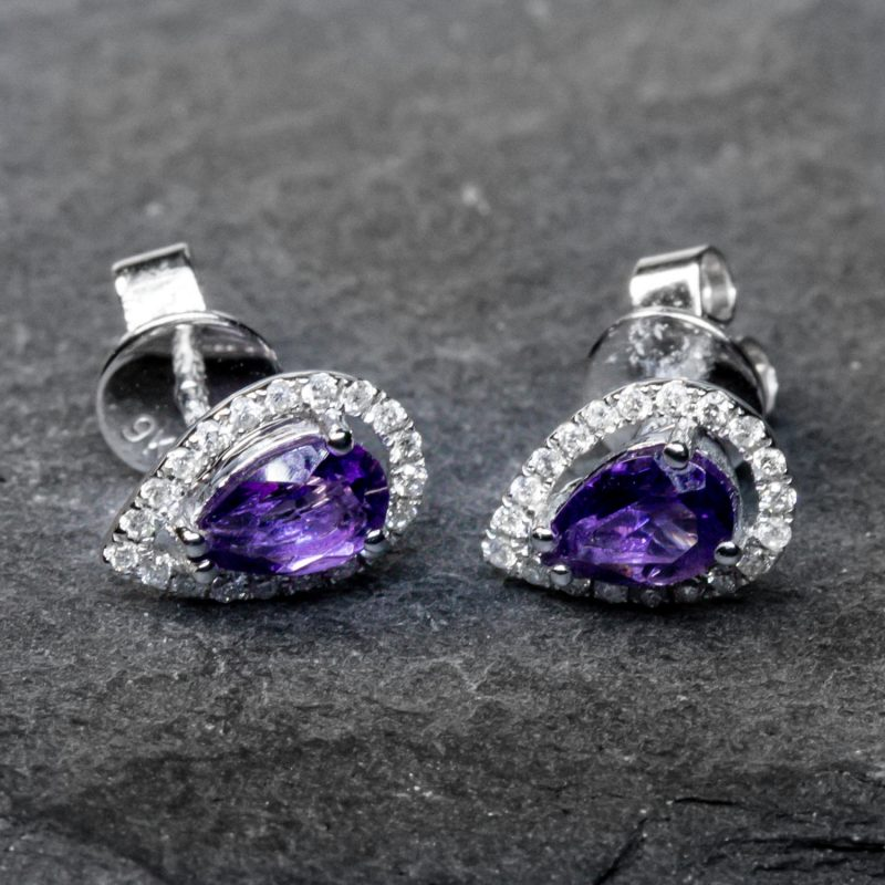 Shop 9CT White Gold Amethyst & Diamond Earrings - Order Online Today for Next Day Delivery
