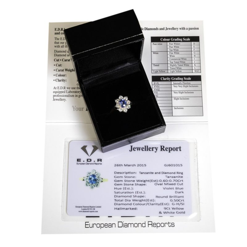 Shop 9ct Gold Certified Diamond & Tanzanite Ring - Order Online Today For Next Day Delivery