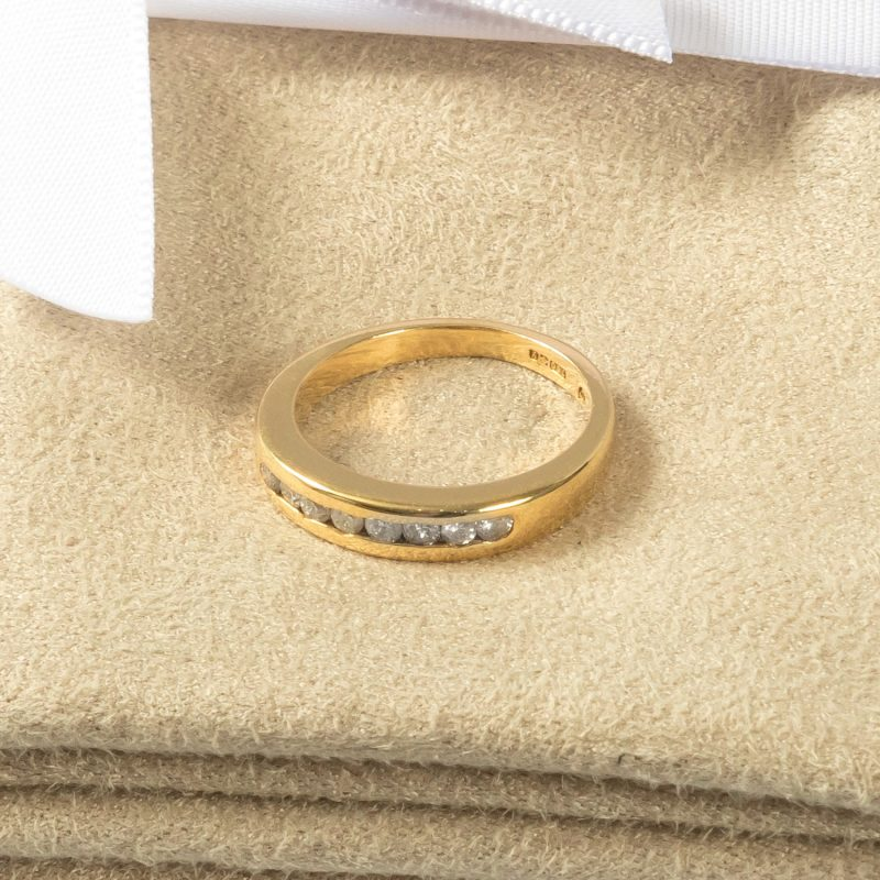 Shop 18CT Yellow Gold Diamond Half Eternity Ring - Order Online Today for Next Day Delivery - Sell Your Diamond Ring to The Luxury Hut today