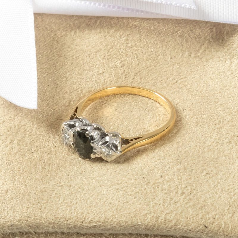 Shop 18CT Yellow & White Gold Ladies Diamond & Sapphire Ring - Order Online Today for Next Day Delivery - Sell Your Diamond Jewellery to the Luxury Hut