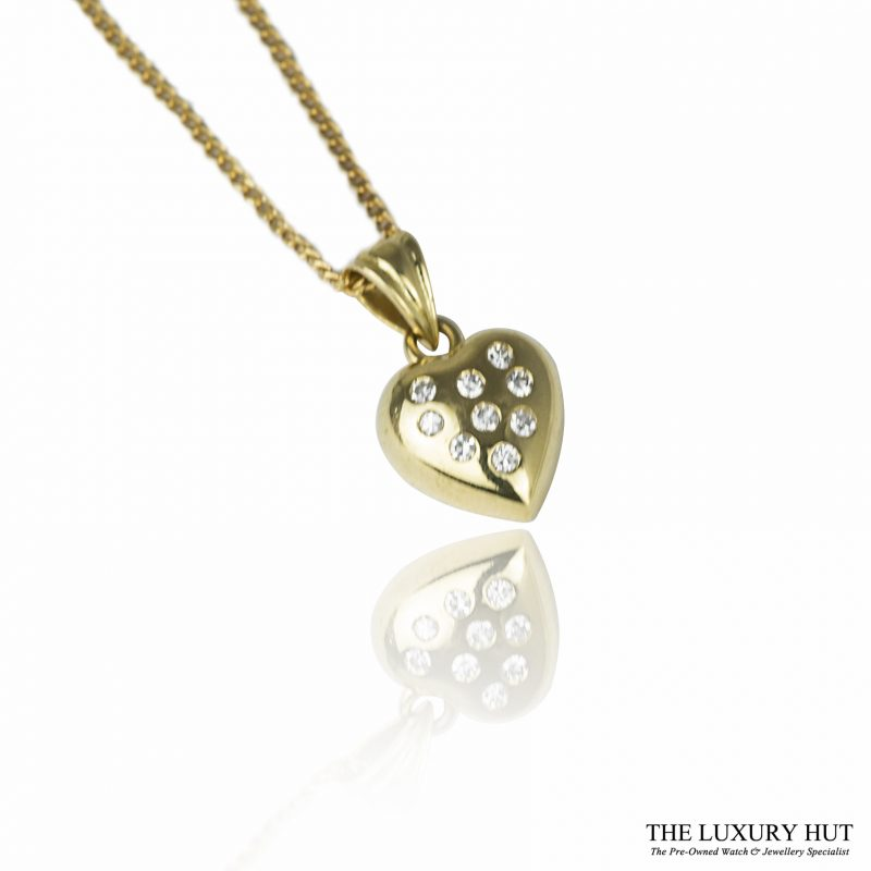 Shop 18ct Yellow Gold & Diamond Heart Pendant with Chain - Order Online Today For Next Day